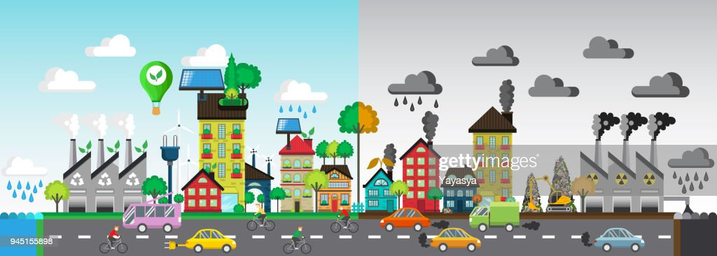 Green and polluted city. For diagram, web design,  brochure,  template,  layout, banner vector illustration