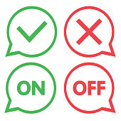 Green and red set of chat icons. Yes and No check marks. On and Off. Vector illustration.