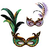 Green and violet mask.