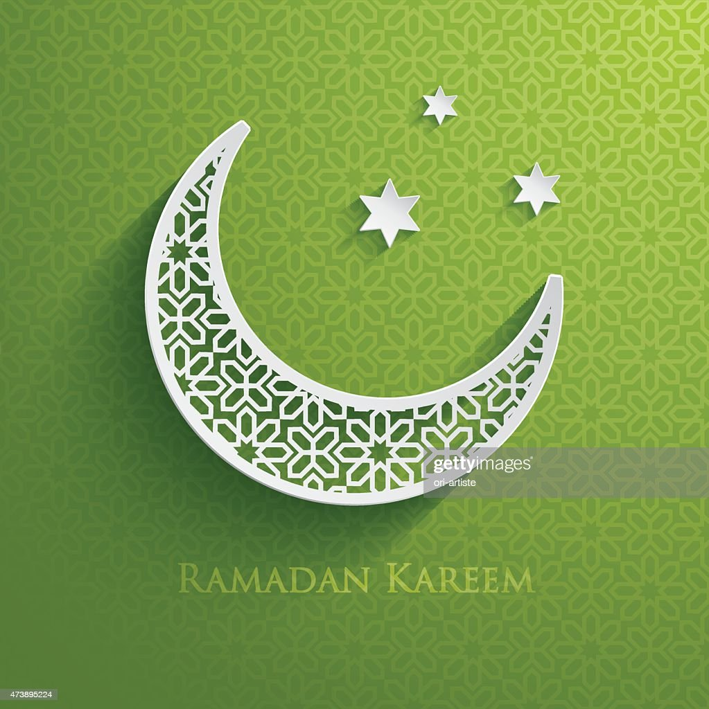 Green and white Ramadam greeting poster