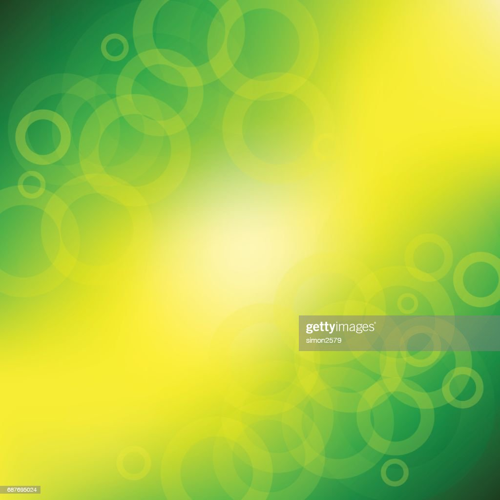 Green And Yellow Color Background With Fading White Circles Vector ...