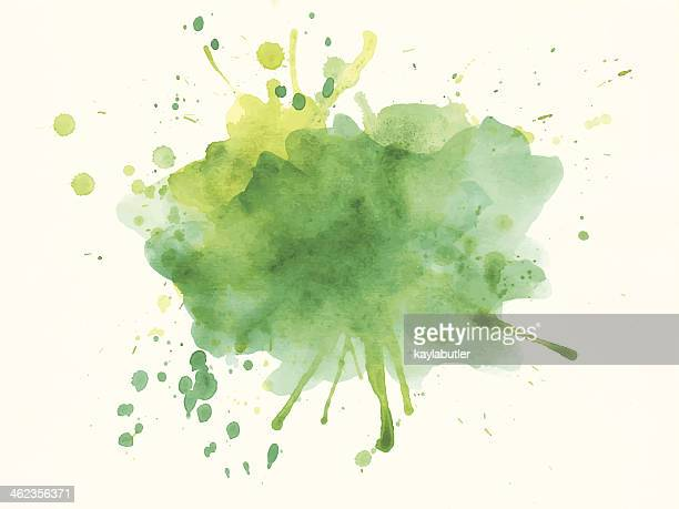 green and yellow watercolor splash - spray stock illustrations