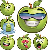 Green Apple Cartoon Set B