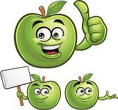 Green Apple Cartoon Set C