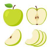 Green apple cartoon set