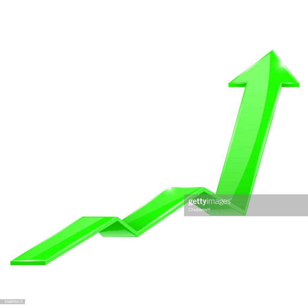 Green arrow. Financial sign, rising trend