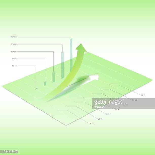 green arrow going up graph & chart - fiscal year stock illustrations