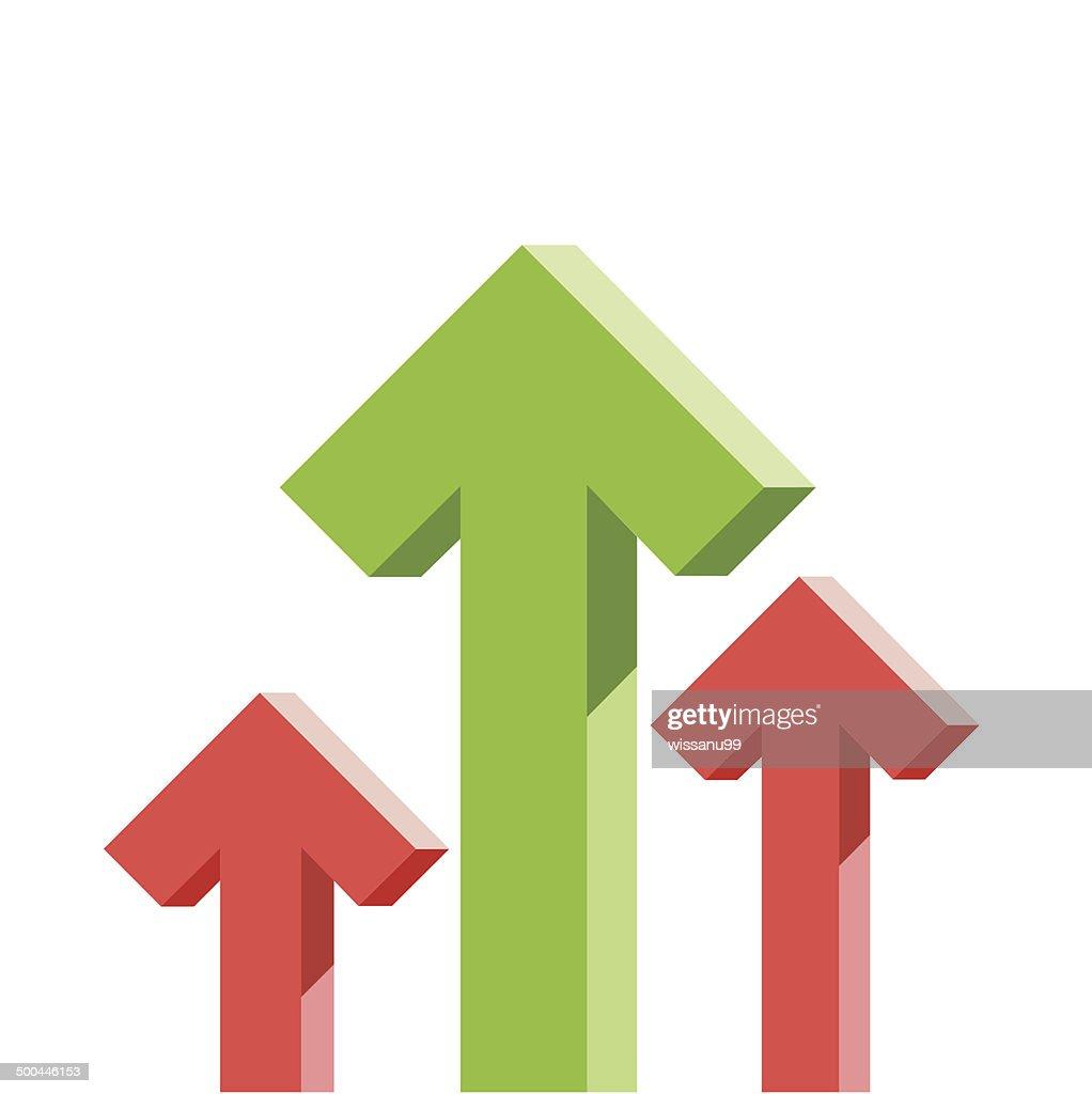 green arrow graph stock raise up