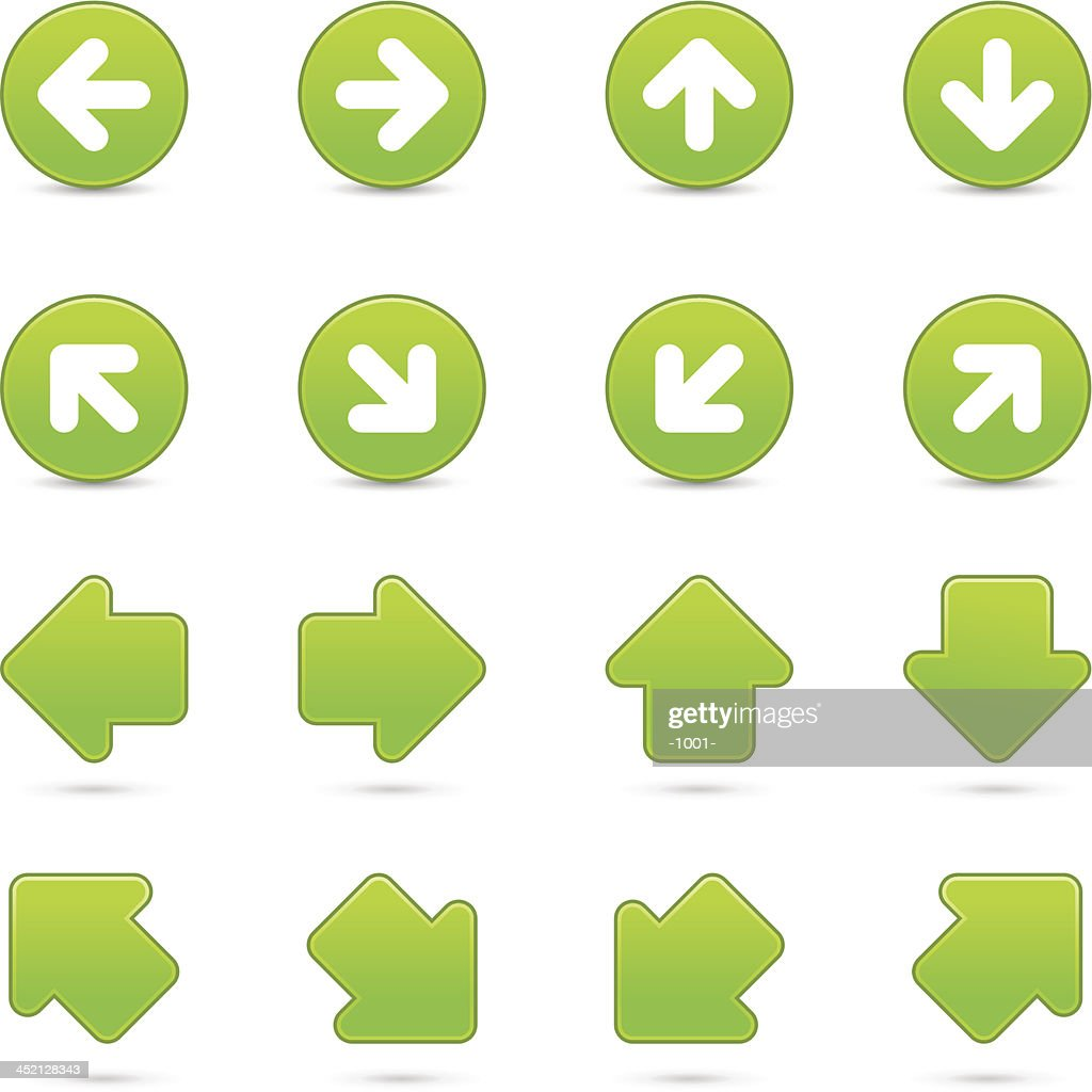 Green arrow sign direction icon navigation button gray shadow