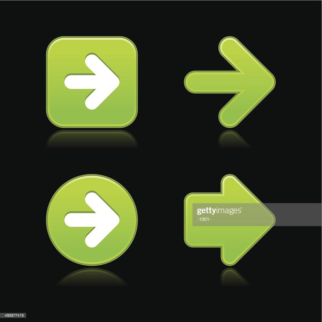 Green arrow sign softness icon circle square web internet button