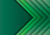 Green arrows abstract background with paper art style