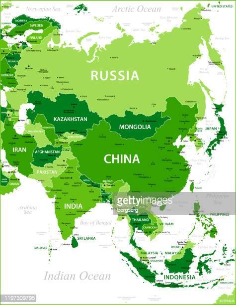stockillustraties, clipart, cartoons en iconen met groene kaart van azië met nationale grenzen. vector illustratie - china oost azië