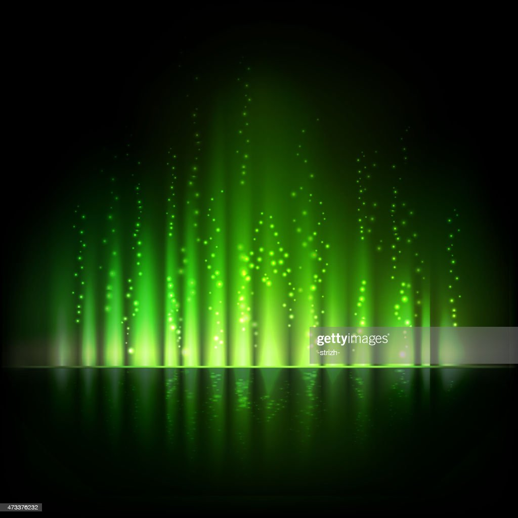 Green aurora light. Abstract vector backgrounds