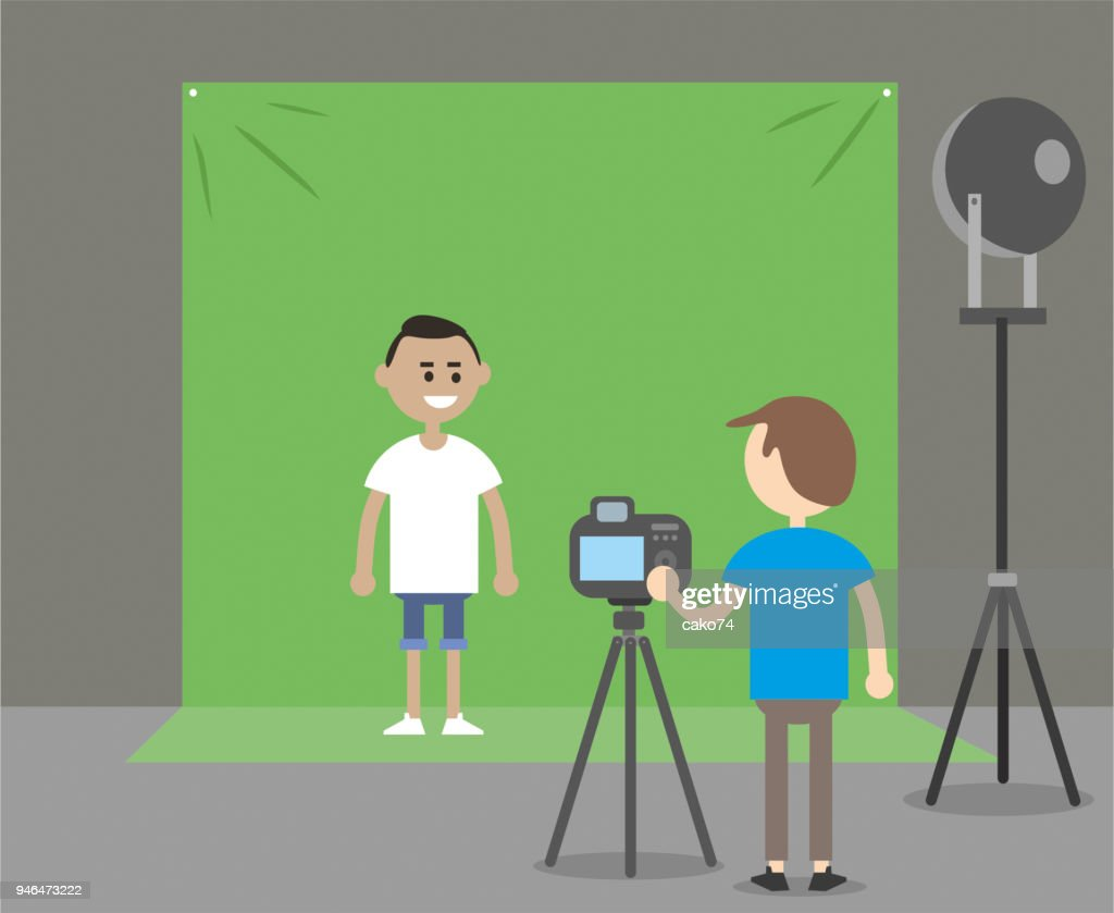 Green background and actor : stock illustration