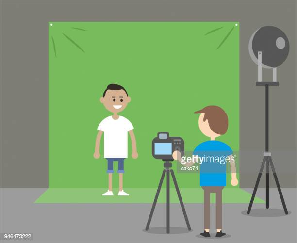 green background and actor - camera tripod stock illustrations, clip art, cartoons, & icons