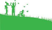 Green background happy family having fun playing in the field,paper art,vector