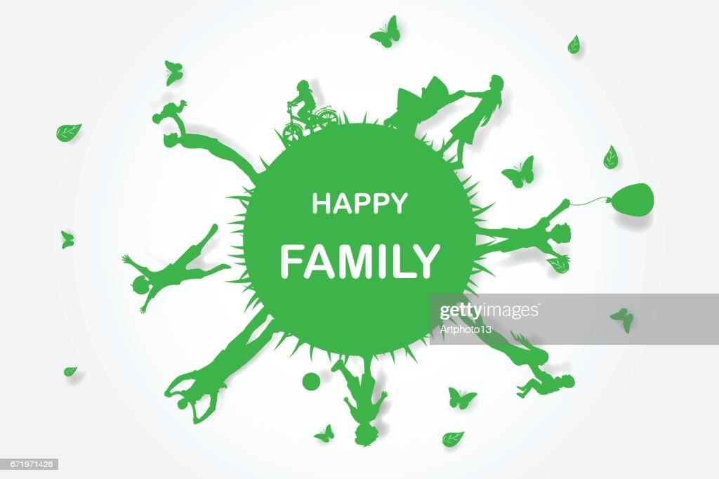 Green background happy family having fun playing in the field,circle,Environment,earth,world