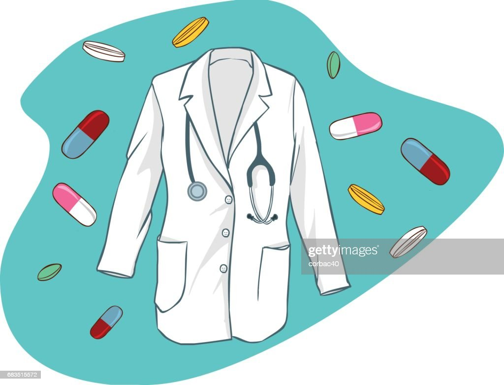 green background Vector illustration of a scrubs