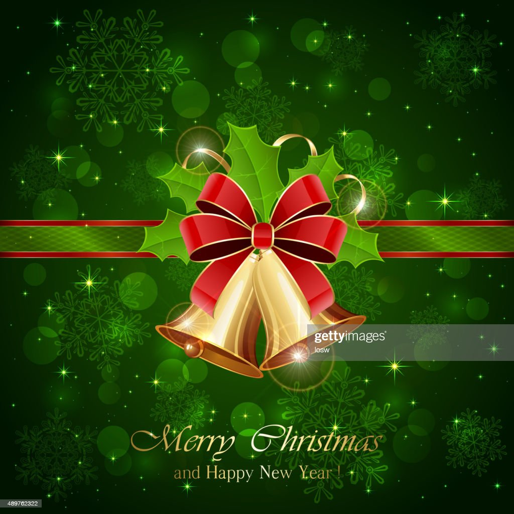 Green background with Christmas bells