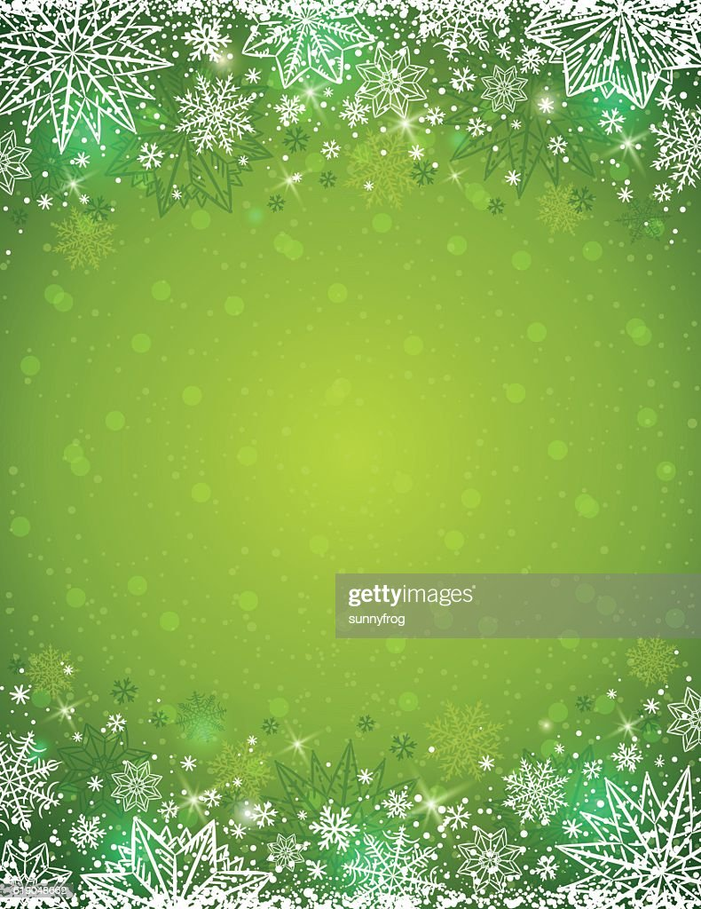 Green background with  frame of snowflakes and stars,  vector