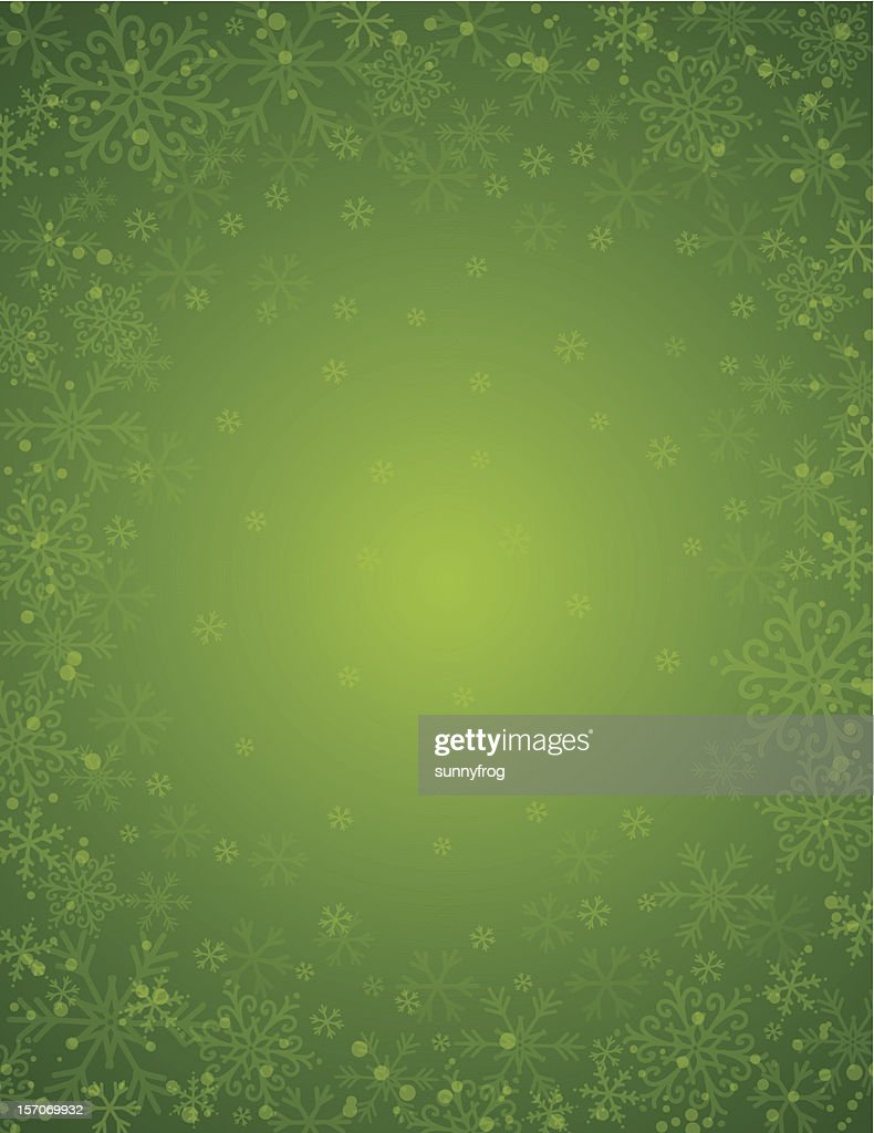 green background with  frame of snowflakes