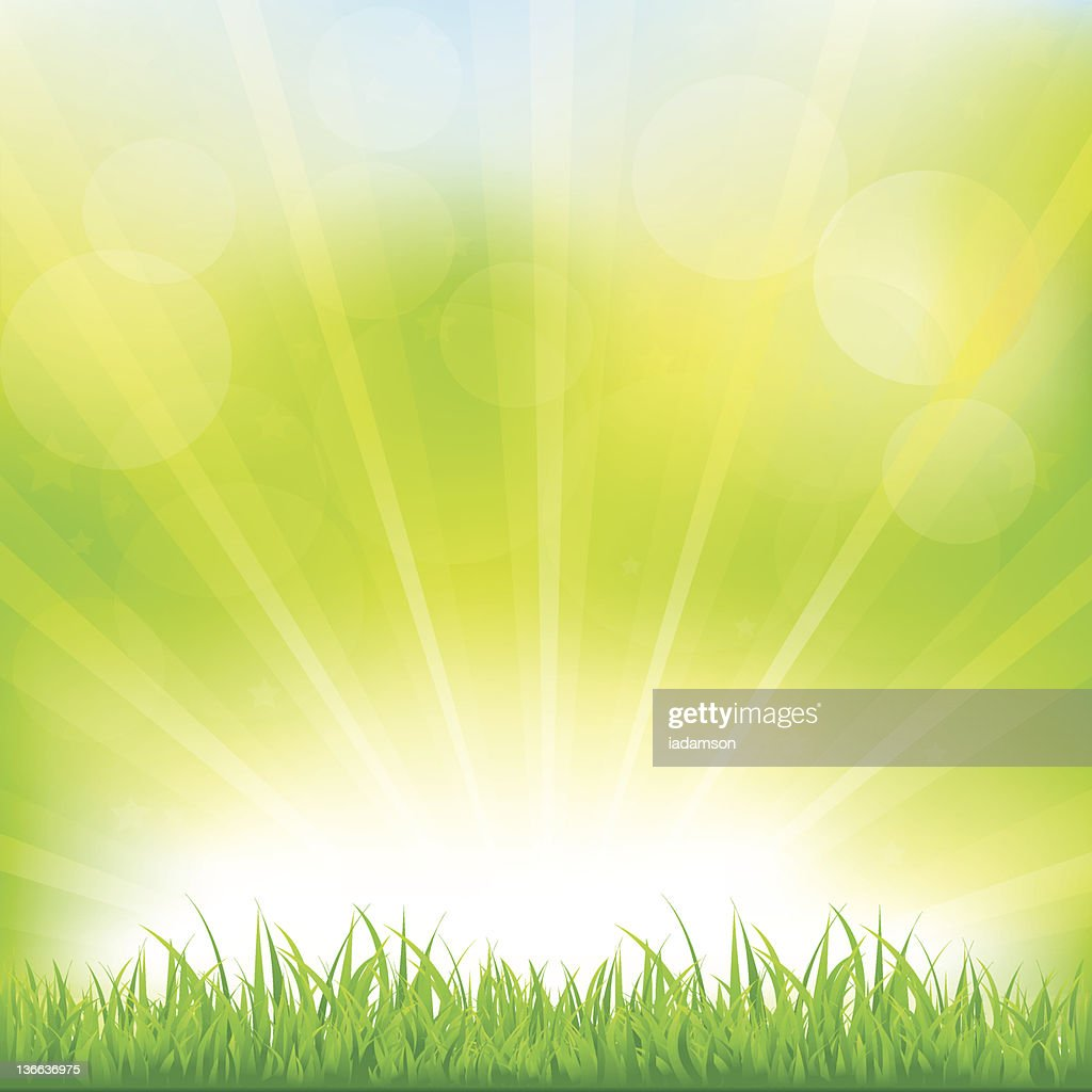 Green Background With Grass And Sunburst