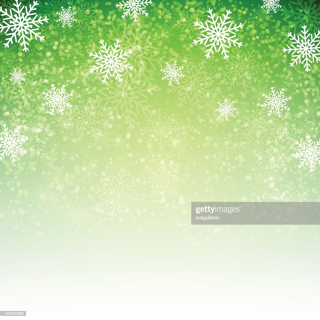 Green background with  snowflakes.