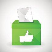 Green ballot box with a thumb hand