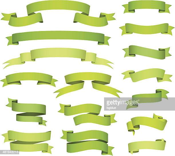 green banners and ribbons set - pennon stock illustrations