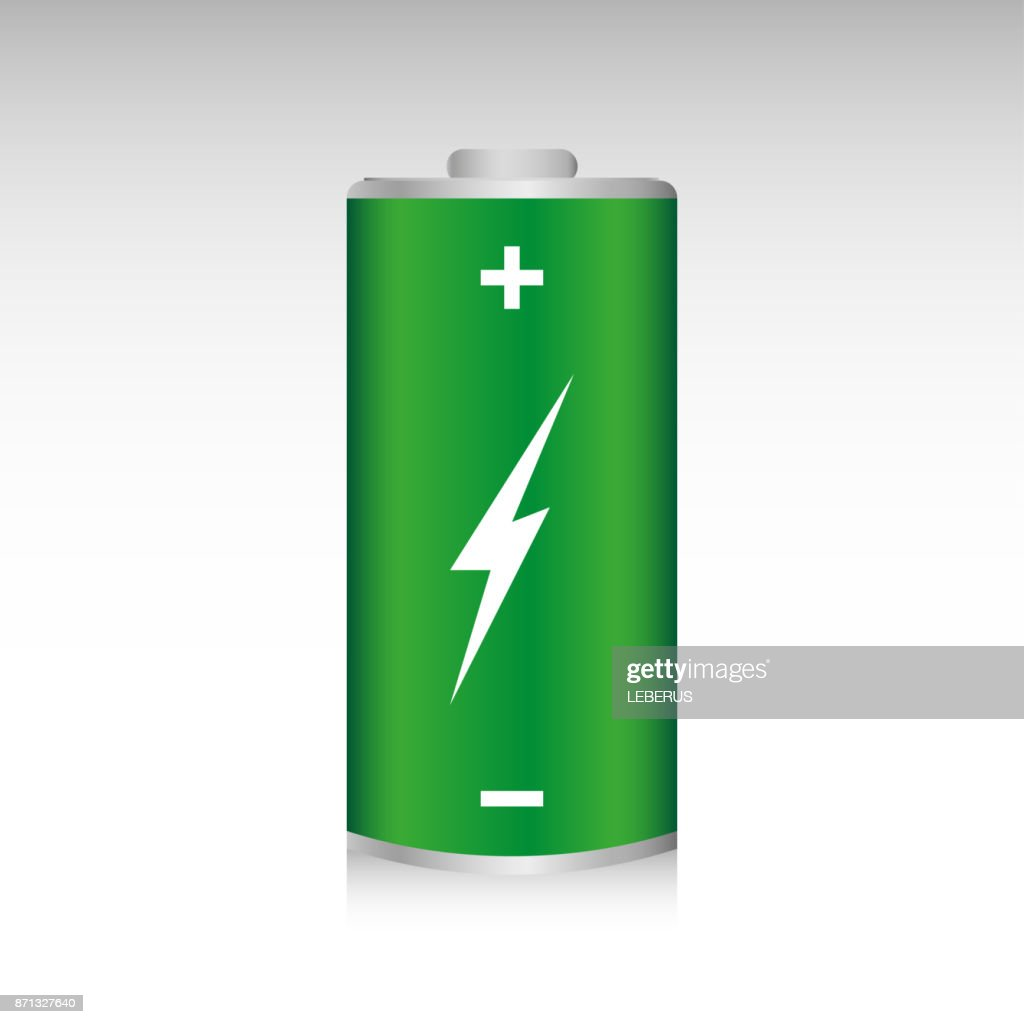 Green battery, full charge isolated on a gray background. Alternative energy concept