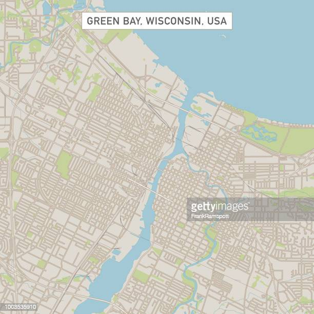 ilustrações de stock, clip art, desenhos animados e ícones de green bay wisconsin us city street map - green bay wisconsin
