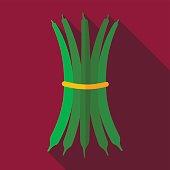 Green bean flat icon. Vegetable vector
