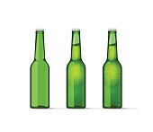 Green beer bottles set with bubbles, full and empty