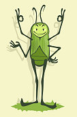 Green beetle with four hands smiles and shows OK hand sign vector illustration