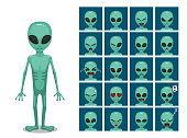 Green Big Eye Extraterrestrial Alien Cartoon Emotion faces Vector Illustration