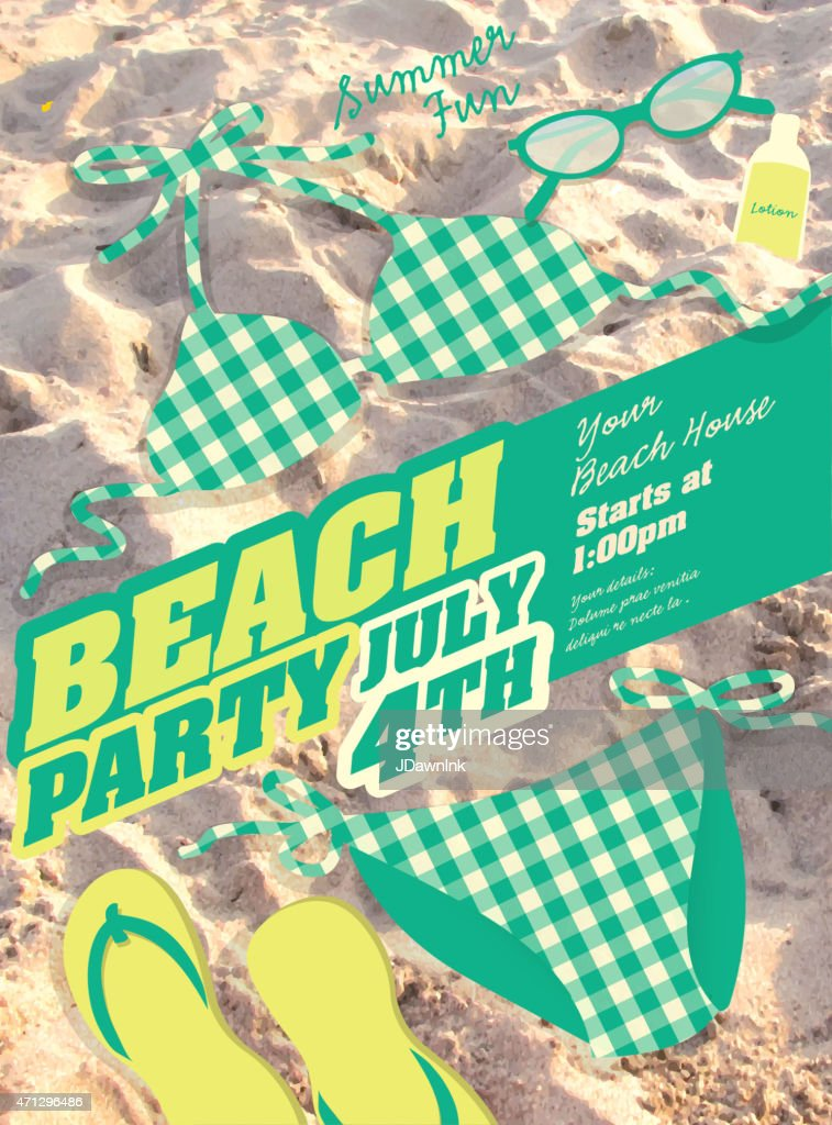 Green Bikini and sand Beach party template invitation design
