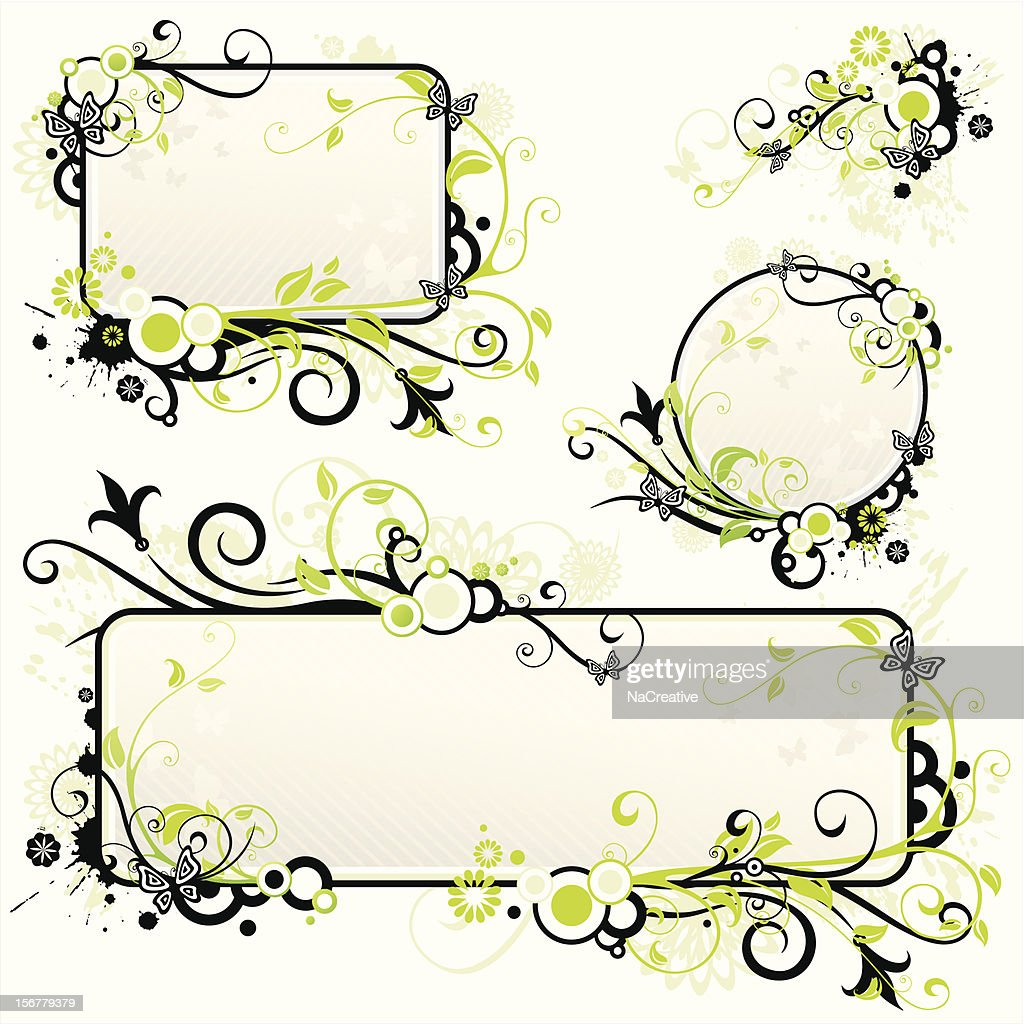 Green black swirls frame set