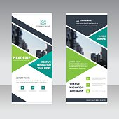 Green black triangle Business Roll Up Banner flat design