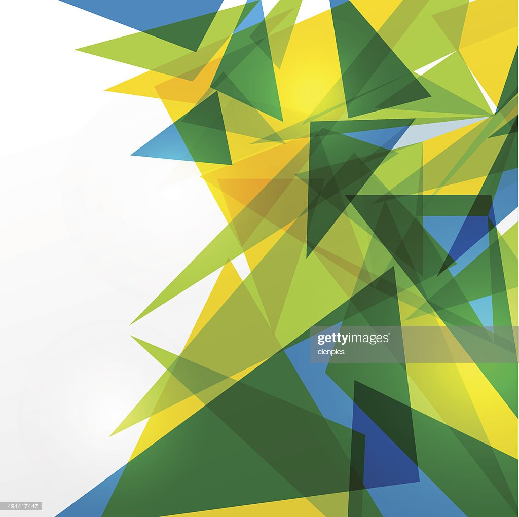 Green, blue and yellow triangles on white