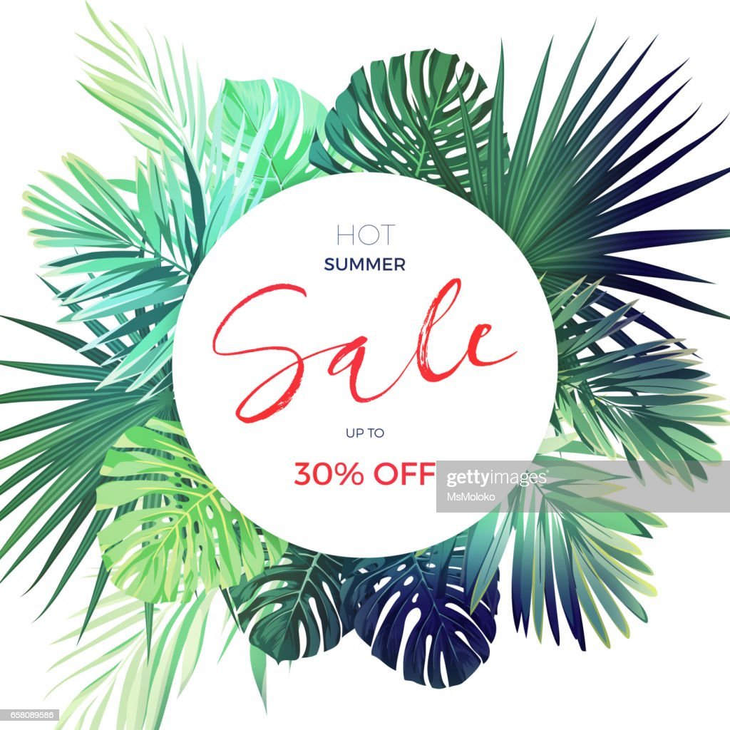 Green botanical summer tropical sale flyer with palm leaves and exotic plants. Vector floral banner template