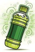 Green Bottle with swirl line