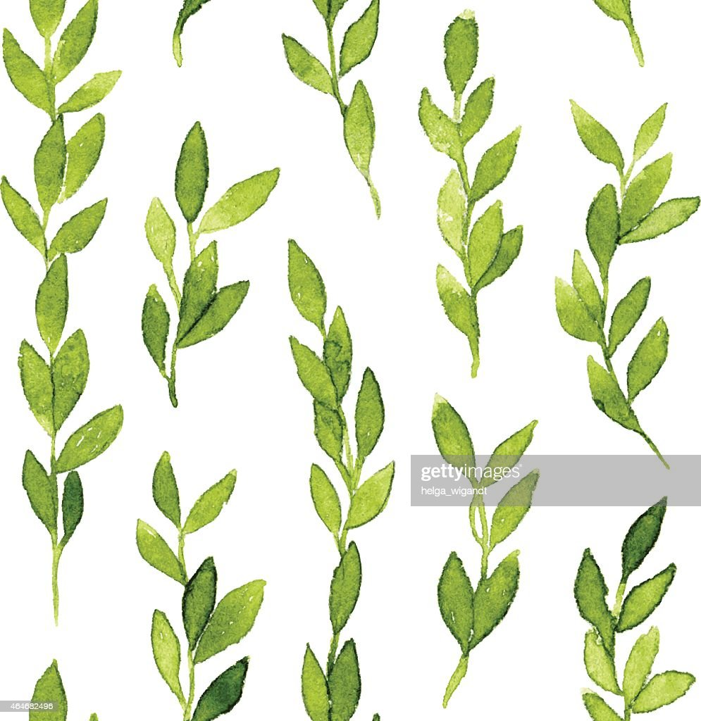Green branches and leaves seamless pattern