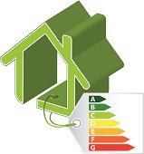 Green building concept with categorized tag attached