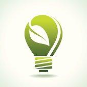 Green Bulb with leaf inside .