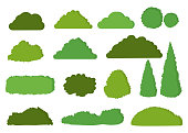 Green bushes vector icon set isolated on white background