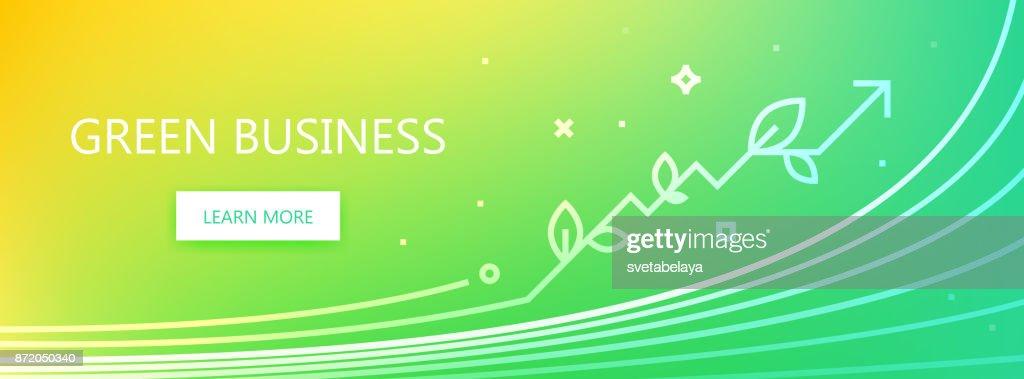 Green business line illustration