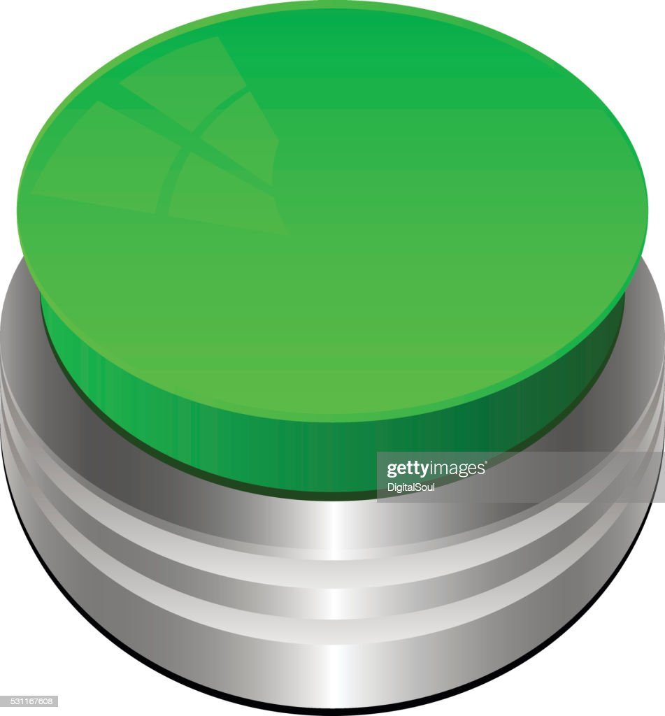 Green Button Isolated on White