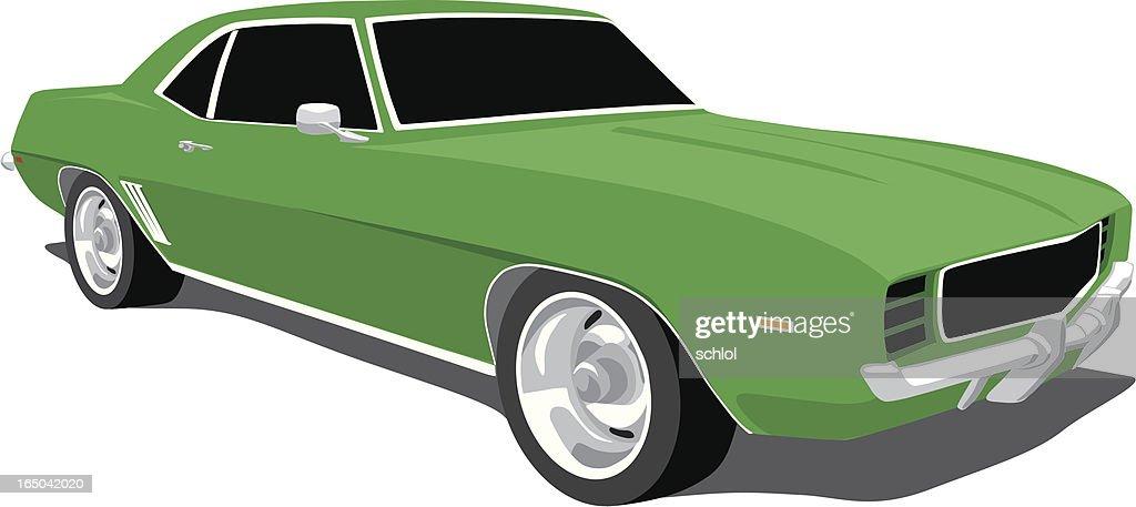 Green Camaro 1969