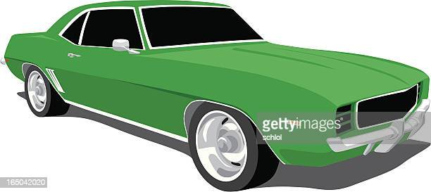 green camaro 1969 - street racing stock illustrations, clip art, cartoons, & icons