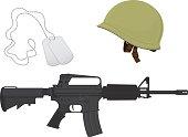 Green Camouflage Military Helmet, Machine Gun, Dog Tags